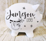 Piggy Bank with Name, Custom Piggy Bank, Girl Newborn Gift, Personalized Children's Keepsake Gift, Sloth Nursery Decor, Boys First Birthday - lasting-expressions-vinyl