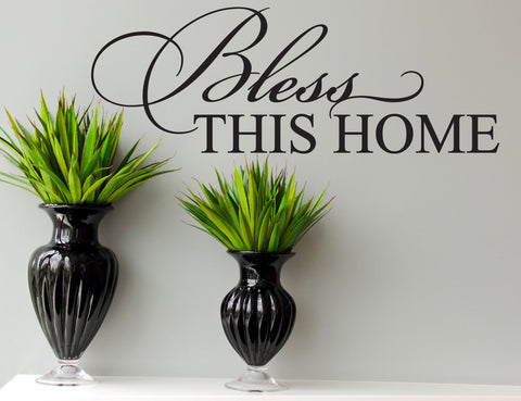 Home Sign, Bless this Home, Vinyl Decal, Wall Words, Home Wall Decor Sign, Wall Sayings about Home, Housewarming gift , custom wall stickers - lasting-expressions-vinyl