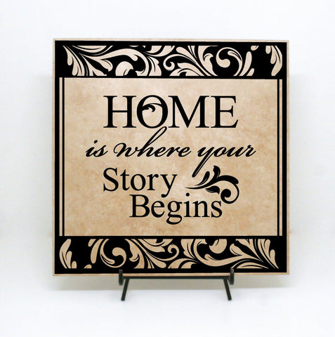 Home Decor Plaque Sign, First Home Housewarming Gift, Client Realtor Thank You Gift, Home Story Begins Quote Sign, Welcome Home Wood Sign - lasting-expressions-vinyl