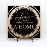 Love makes our house a home - Personalized Sign, Custom Tile, Mom's Birthday, Personalized Anniversary Gift, Family Names, Vinyl Decal - lasting-expressions-vinyl