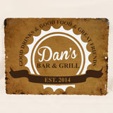 Metal Bar Sign, Custom Bar and Grill Sign, Father's Day Gift for Dad, Custom Name Bar Decor for Man Cave, Unique Groomsman Gift for Ushers - lasting-expressions-vinyl