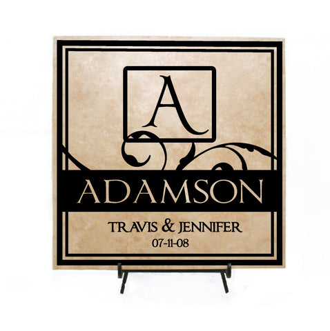 Monogram Plaque, Wedding Centerpiece, Last Name Custom Wood Sign, Gift for Newlyweds, Personalized Gift for Couple, Ceramic Tile with Vinyl - lasting-expressions-vinyl