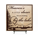 Heaven's home by the lake Sign, Lake home decor, Wood Welcome Sign, Birthday Gift for Mom, Cabin Decor, Heaven Quote, Heaven Lake Decor Sign - lasting-expressions-vinyl