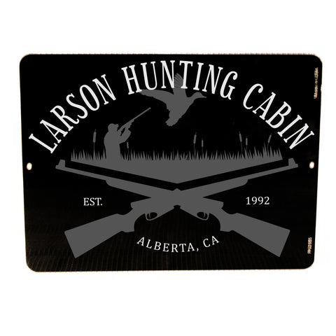 Metal Hunting Sign, Custom Welcome Sign for Cabin, Gun Metal Sign Decor, Father's Day Gift for Dad, Pheasant Hunting Man Cave Metal Decor - lasting-expressions-vinyl