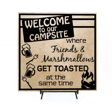 Welcome Campsite Camping Sign, Friends Marshmallows Toasted - lasting-expressions-vinyl