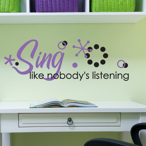 Home Decor Wall Art, Sing Like Nobody's Listening, Music Quote for Wall, Music Classroom Wall Art, Inspirational Saying, Girls Bedroom Decor - lasting-expressions-vinyl