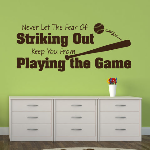 Baseball Sign Wall Decor, Vinyl Wall Art Baby Boy Nursery, Baseball Quote Wall Sticker - lasting-expressions-vinyl