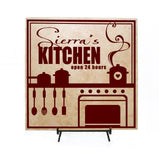 Kitchen Decor Wood Sign, Personalized Name Gift for Mom, Kitchen Open 24 Hours, Mother's Day Gift, Housewarming Gift, Custom Kitchen Decor - lasting-expressions-vinyl