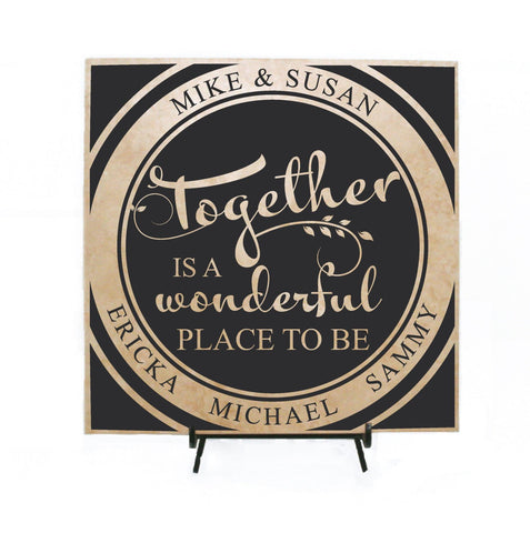 Family Quote Sign - Together is a wonderful place to be, Personalized Gift, Custom Name Welcome Sign, Birthday Gift for Her, Housewarming - lasting-expressions-vinyl