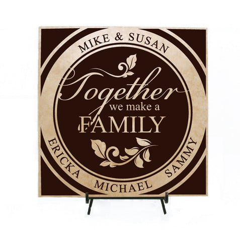 Family Quote Sign Personalized Gift, Her Birthday Gift for Mom, Family Names Ceramic Plaque Sign, Custom Name Sign Home Decor, Family Gifts - lasting-expressions-vinyl
