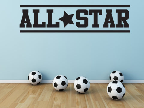 All Star Vinyl Wall Decal Sports Decor - lasting-expressions-vinyl