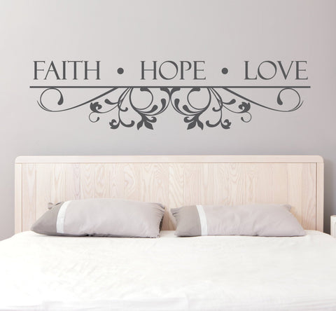 Vinyl Wall Decal Faith Hope Love Quote - lasting-expressions-vinyl