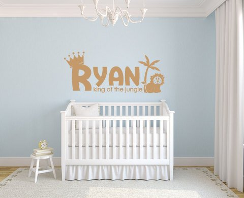 Jungle Nursery Wall Decor Vinyl Lettering, Custom Kids Name Sign Wall Decal Sticker, Above Crib Baby Name Custom Sign, Lion Jungle Wall Word - lasting-expressions-vinyl