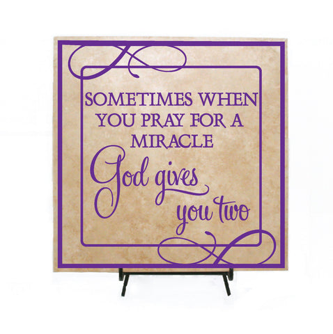 Baby Shower Gift for Twins, God Gives You Two Twins Quote Sign - lasting-expressions-vinyl