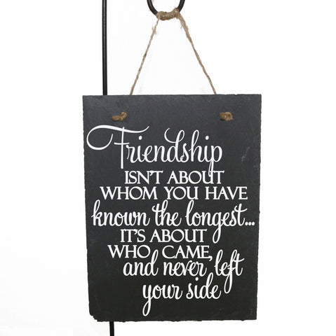 Friendship Quote Sign Gift for Friend, Thank You Gift for Friend Birthday, Known the Longest Left your Side Saying Sign, Rustic Home Decor - lasting-expressions-vinyl