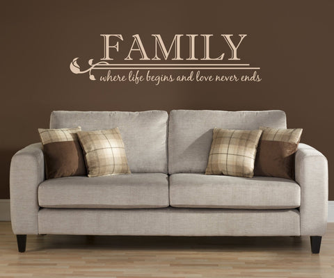 Family wall quote - life begins love never ends - lasting-expressions-vinyl