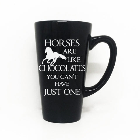Horses are like chocolate Vinyl Decal on Coffee Mug - Coffee Lovers Sign, Horse Gift, Animal Coffee Mug, Custom Coffee Mug - lasting-expressions-vinyl