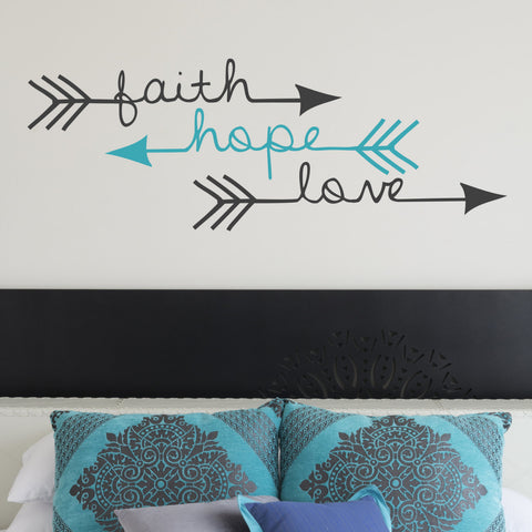 Adhesive Wall Art Decal, Faith Hope Love Wall Words, Arrow Vinyl Wall Sticker, Love Arrow Wall Decor, Bedroom Wall Art, Above Bed Sign - lasting-expressions-vinyl