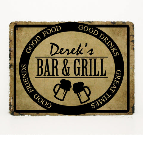 "Metal Bar Sign with Name, Custom Bar and Grill Sign, Father's Day Gift for Dad,  12"" x 18"", Housewarming Gift for Men, Birthday Gift for Him - lasting-expressions-vinyl"