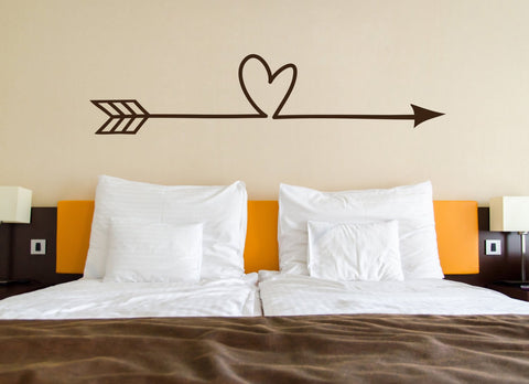 Heart Arrow Vinyl Wall Decal Sticker, Bedroom Wall Art for Above Bed, Vinyl Stencil for Crafts, Love Wall Decor Gift For Her, Doorway Sign - lasting-expressions-vinyl