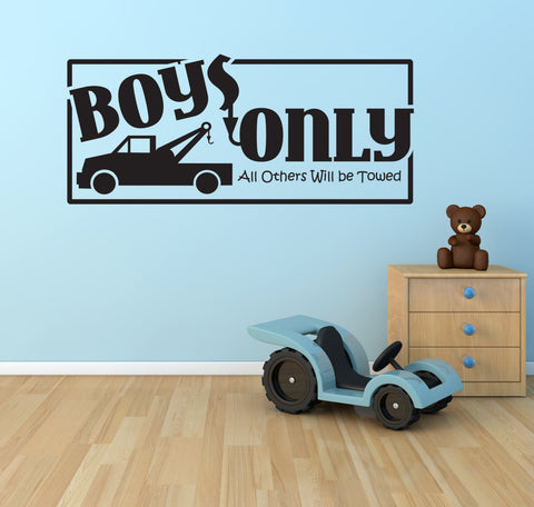 Boys Nursery Wall Decor Playroom, Tow Truck Boys Only Sign - lasting-expressions-vinyl