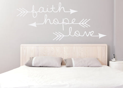 Bedroom Wall Decor, Vinyl Decal Sticker, Faith Hope Love Wall Words - lasting-expressions-vinyl