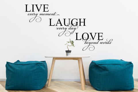 Live Laugh Love Quote for Wall, Saying about Love, Wall Lettering Sticker, Home Wall Art, Sticker Quote for Wall Sign, Housewarming Gift - lasting-expressions-vinyl