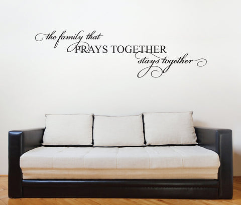 Family Quote Vinyl Wall Lettering, Family Saying for Wall Art, Family Prays Together Quote, Mom Birthday Gift, Family Vinyl Wall Lettering - lasting-expressions-vinyl