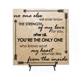 No one else will ever know love for you, Heart sounds like from inside, Birthday Gift for New Mom, Baby Nursery Decor, Baby Quote Sign Wood - lasting-expressions-vinyl