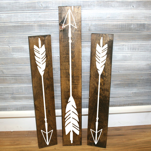 Wood Arrow Signs Set of 3 - Reclaimed Wood Home Decor - lasting-expressions-vinyl