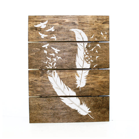 Feather and Bird Wood Pallet Sign - lasting-expressions-vinyl