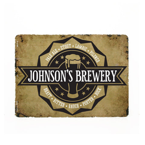 Beer Metal Sign, Custom Brewery Name, Man Cave Sign, Groomsman Gift, Dad Birthday, Father's Day - lasting-expressions-vinyl