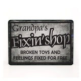 Grandpa Quote Sign, Grandpa Pregnancy Announcement Gift, Papa Birthday Gift, Grandpa Gift from Grandkid, Metal Garage Sign, Fixin Shop Quote - lasting-expressions-vinyl