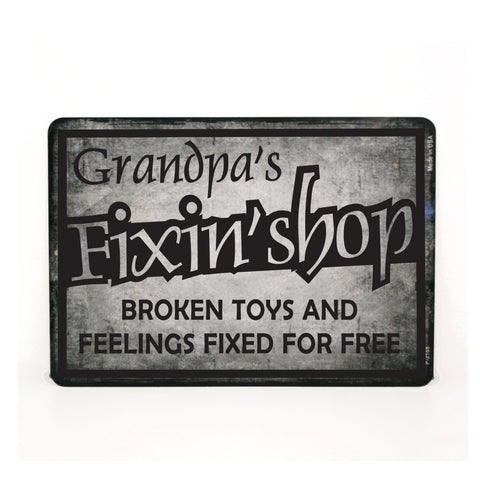 Grandpa's Fixin' Shop Metal Quote Sign - lasting-expressions-vinyl