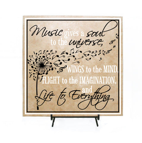 Music Quote Sign, Thank You Gift for Music Teacher Co-Worker Gift, Music Soul Life Saying Plaque, Retirement Gift Her, Dandelion Music Notes - lasting-expressions-vinyl