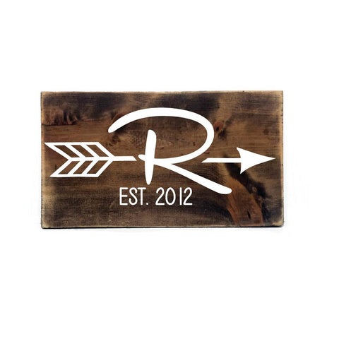 Personalized Established Monogram Arrow Wood Sign- Primitive Home Decor, Wedding Decor, Old Bar Wood, Gift for Friends, Rustic Decor - lasting-expressions-vinyl