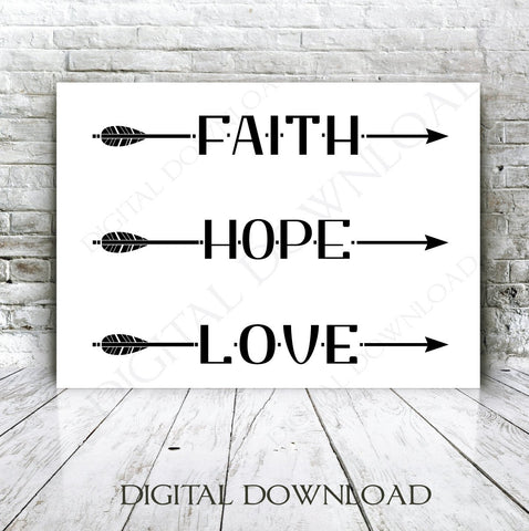 Faith Hope Love Arrow Quote Vector Digital Design Download - Ready to use Digital File, Vinyl Design Saying, Printable Quotes, Vector Arrow - lasting-expressions-vinyl
