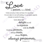 Love is patient Corinthians 13:4-7 Digital Design Download - Ready to use File, Vinyl Design Saying, Printable Quotes, .SVG, .AI, .Png - lasting-expressions-vinyl