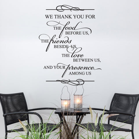 Thank you Food Friends Love Presence - Spiritual Wall Decal - lasting-expressions-vinyl