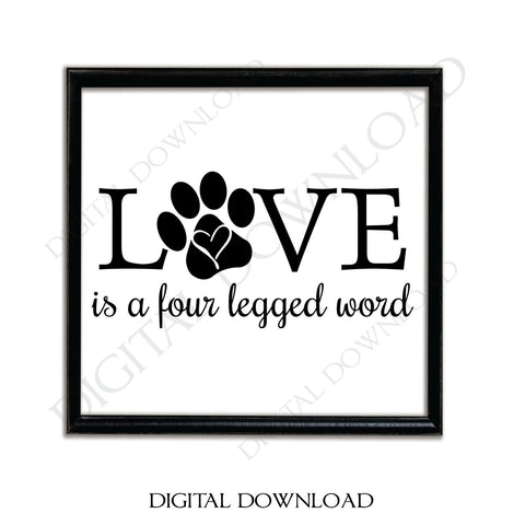 Dog Quote about Love, Love is a four letter word, Pet Designs Vector, Heat Press vinyl graphic, Designs for Shirts, Love Typography Print - lasting-expressions-vinyl