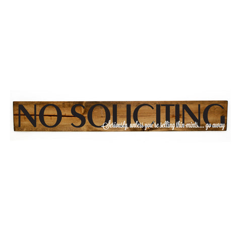 No Soliciting Funny Wood Sign, Soliciting Thin Mints Sign, Housewarming Gift for Friend, Wood Welcome Sign Front Door, Soliciting Wood Sign - lasting-expressions-vinyl