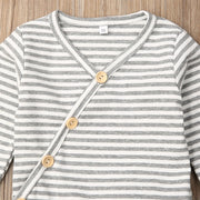 Ribbed Cotton Set - Grey stripe