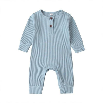 Ribbed Cotton Onesie - Blue