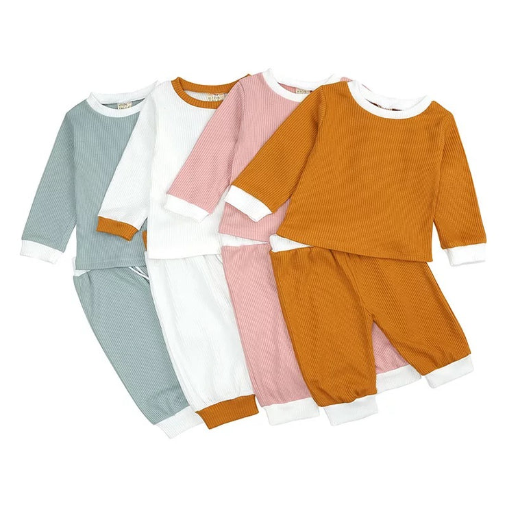 Ribbed Cotton Loungewear Set - Rust
