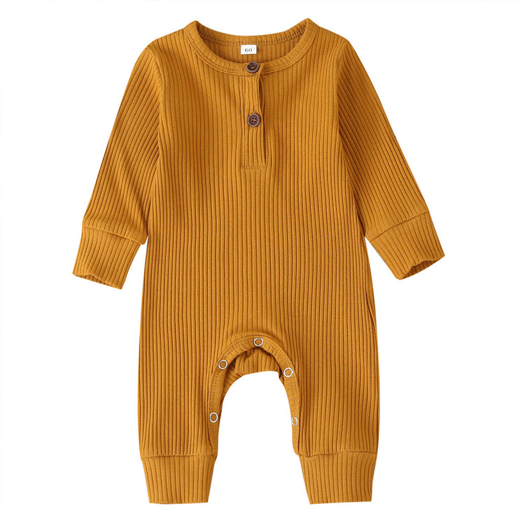 Ribbed Cotton Onesie - Rust