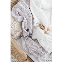 White Diamond Knit Baby Blanket