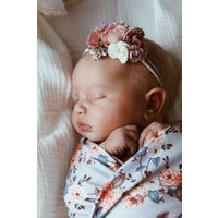 Vintage Blossom Baby Jersey Wrap and Topknot