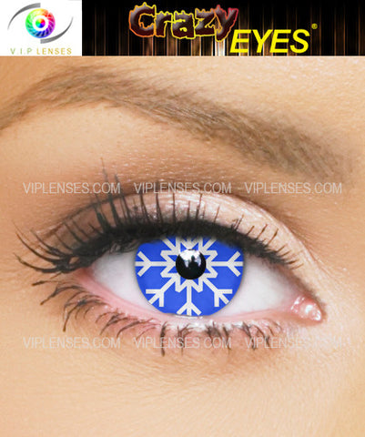 Crazy Blue Snowflake Contact Lenses
