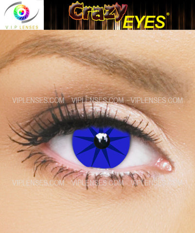 Crazy Blues Pointed Star Contact Lenses