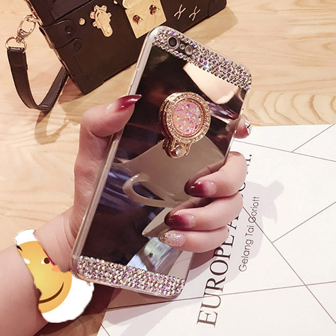 Fashion Women Beautiful Multifunction Phone Case for IPhone 6 6S 7 Plus 5 5S SE Bling Crystal Diamond Makeup Mirror Surface Finger Ring Stand Holder S